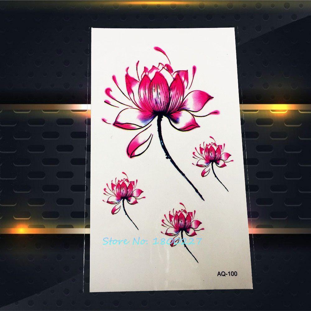 1pc Pink Lotus Tattoo Paste 3d Design Paq 100 Tatouage Taty Flower