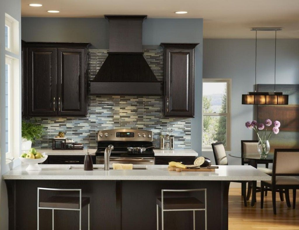 Black Brown Kitchen Cabinets Part - 20: Pleasing Kitchen Design Ideas with Painted Black Kitchen Cabinets and  Island plus White Granite Countertop also Mosaic Subway Tile Backsplash and  Black ...