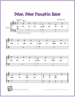 Peter Peter Pumpkin Eater Easy Piano Sheet Music Violin Sheet