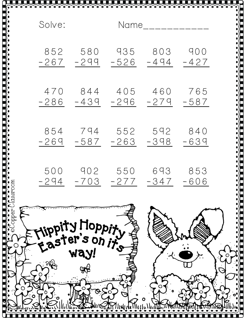 Free Easter subtraction worksheet!   3rd grade math [ 1056 x 816 Pixel ]