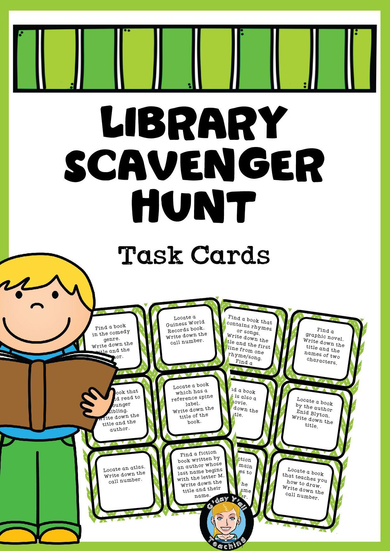 Library Scavenger Hunt Task Cards Upper Elementary