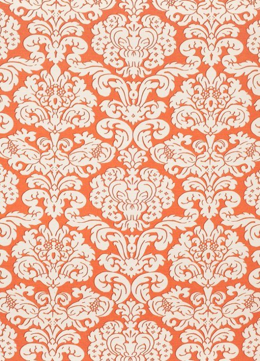 trelawny damask fabric a bold printed fabric with contemporary damask motif shown in coral on - Contemporary Damask Wallpaper