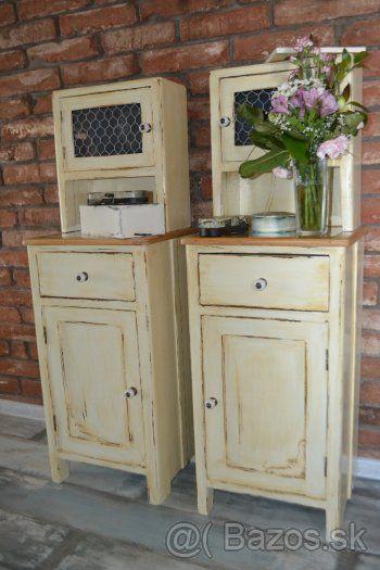 Nočné stolíky 2 ks, toaletný stolík,  vintage styl, patina - 1