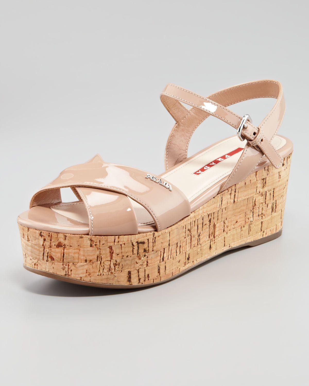 fe13ebc9a47 Sandals. http   ncrni.com prada-patent-crisscross-wedge-