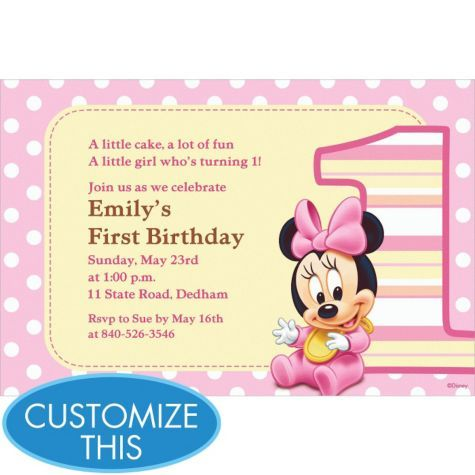 Minnie Mouse 1st Birthday Custom Invitation