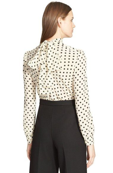 polka dot bow silk blouse | RED Valentino
