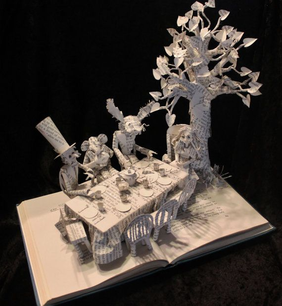 The Mad Hatter's Tea Party Book Sculpture by WetCanvasArt on Etsy, $425.00