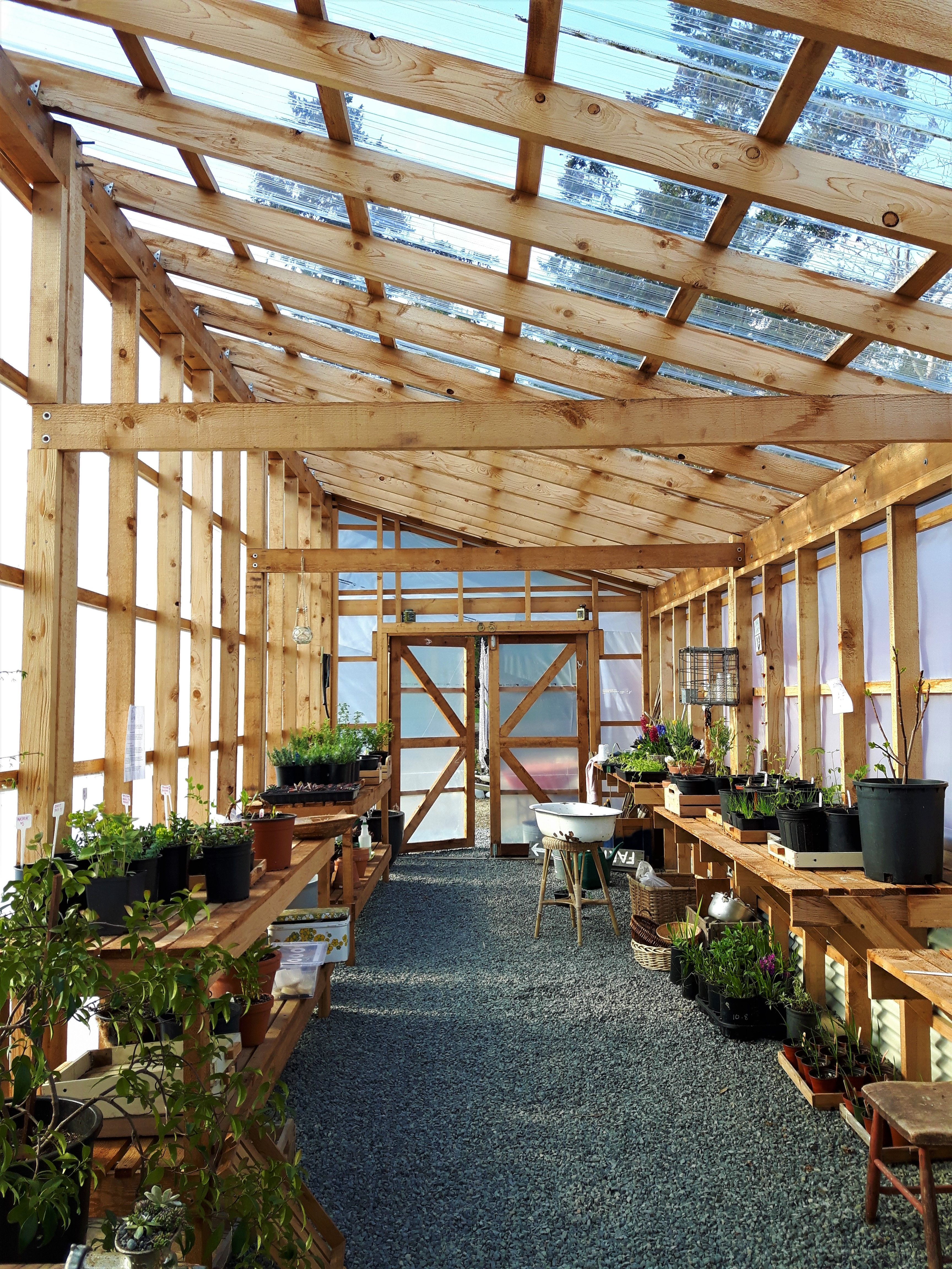 The Beautifully Designed Westcoast Style Greenhouse At Sleeping Dog Mermaid Farm In The Comox V Backyard Greenhouse Diy Greenhouse Plans Greenhouse Gardening