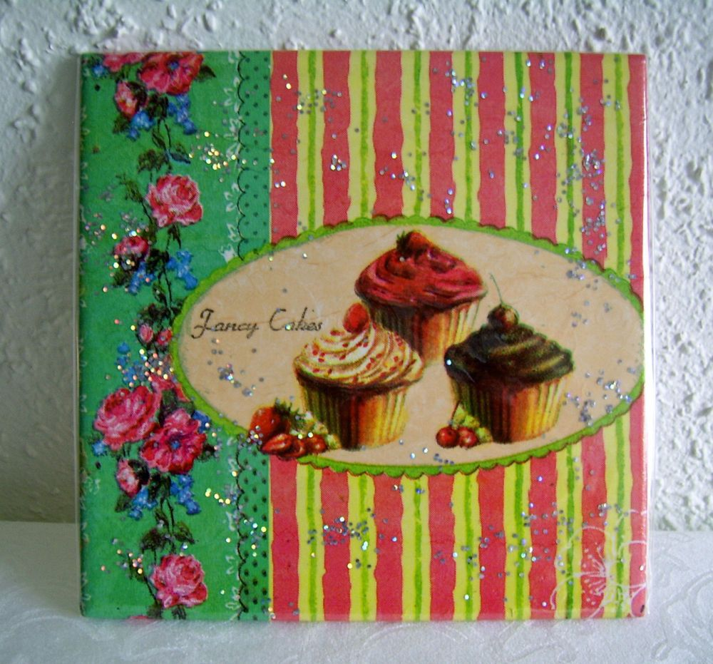Bild Deko 15x15 Keramik Fliese Cupcake Mitbringsel Geschenkidee
