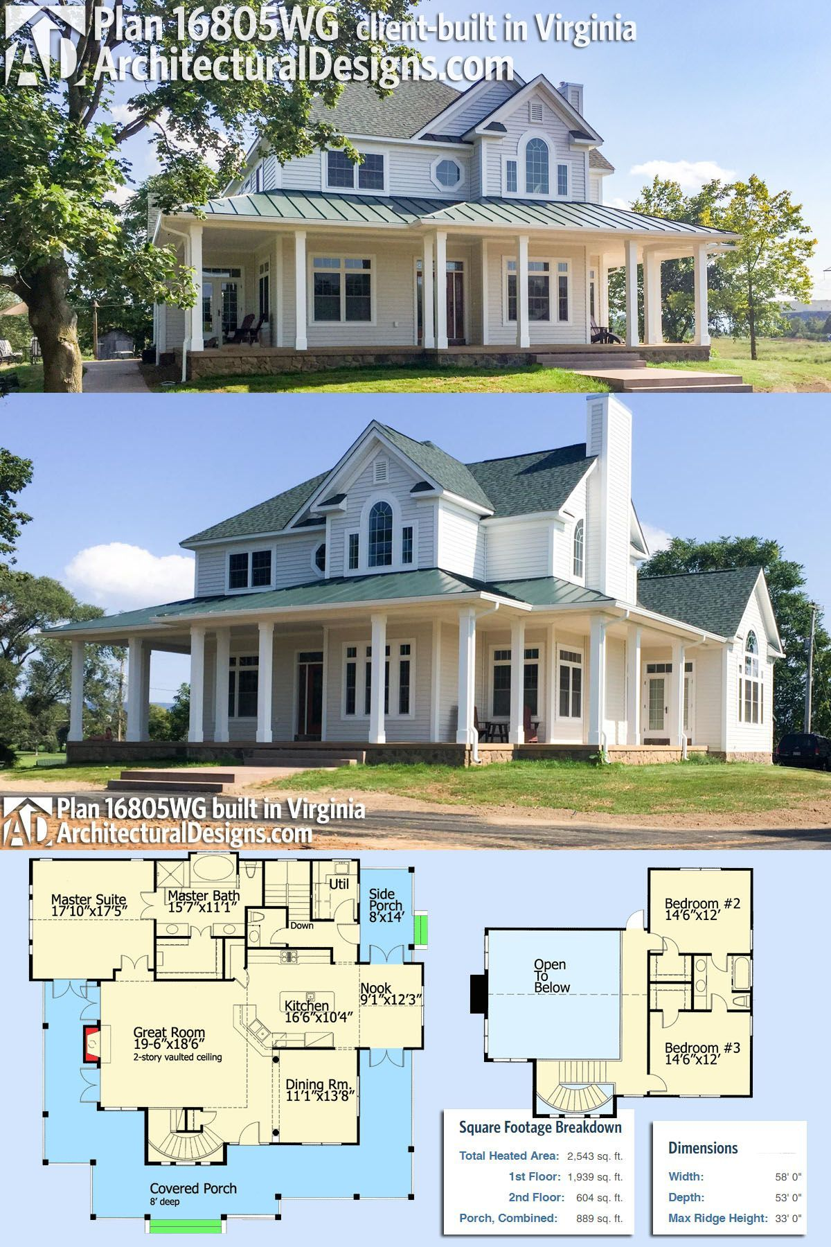 Our Client Built Architectural Designs House Plan 16805wg True To Spec In Reverse Orient Porch House Plans Country House Plans Architectural Design House Plans