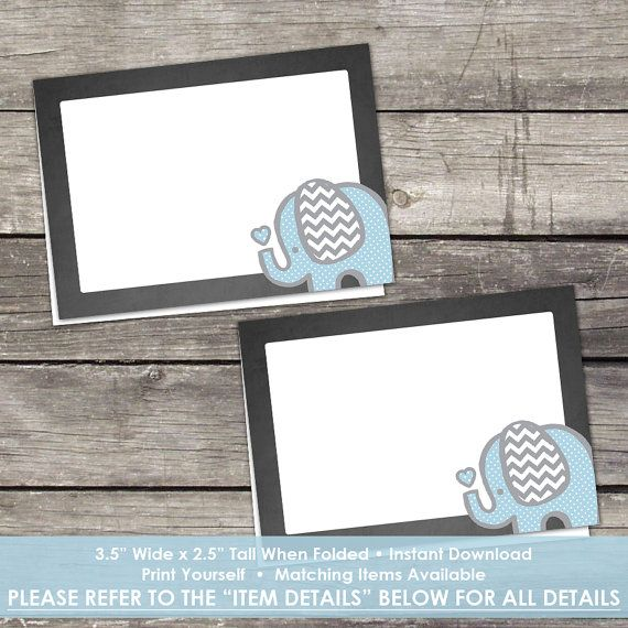 Chalkboard Elephant Food Tent Labels Or Cards Place Cards Blue