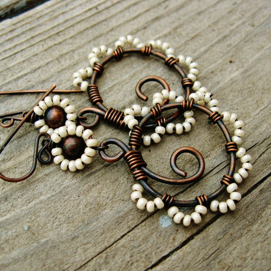 Dance Wire Jewelry Center Wesbar 4way Flat Trailer Wiring Harness 2039 Long Bead Earrings Seed Wrapped Antiqued Copper Hoops Rh Pinterest Com Diy