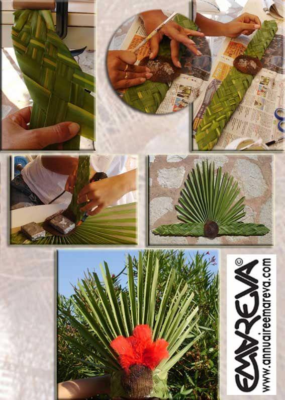 Fabriquer une coiffe et couronne de danseuses tahitienne for Fabriquer un palmier artificiel