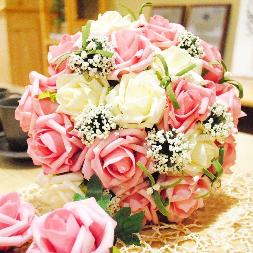 Acessórios linda rosa branco de casamento buquê de casamento casamento flores bouquets de noiva(China (Mainland))