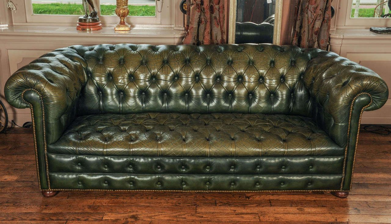 Buttoned Leather Sofa.