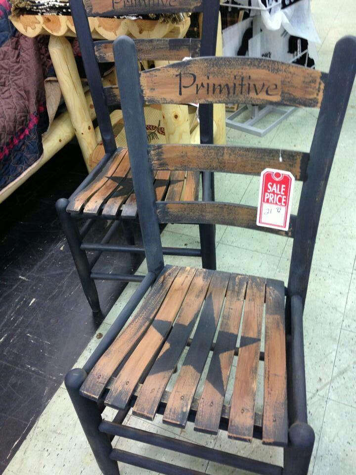 Cute Chair Redo Primitives Wooden Makeover Diy