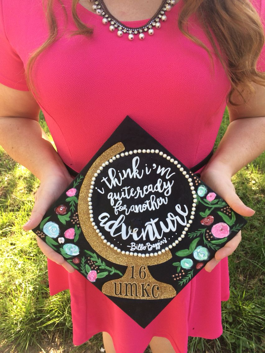 2044ad4bd58 Globe graduation cap lord of the rings adventure quote