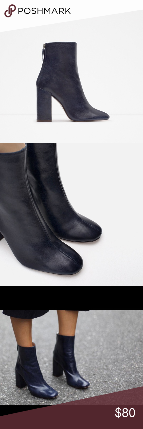 ba04c6fe17 Zara Navy Blue Leather Block Heel Ankle Boot -Italian leather ankle ...
