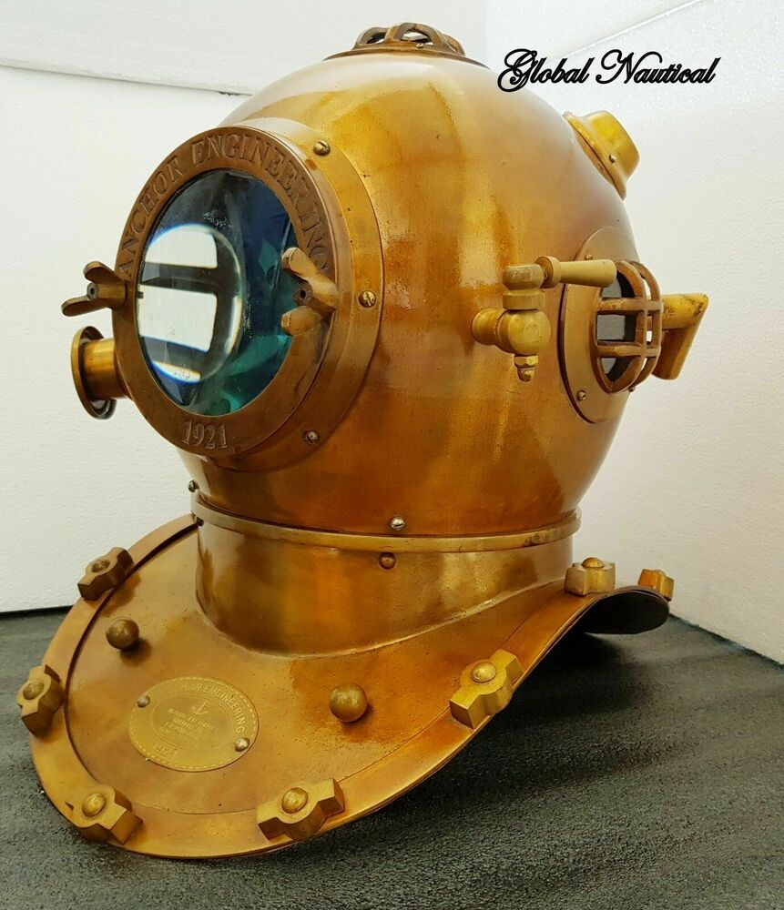 "Reproduction 18/"" Anchor Engineering Diving Helmet Mark V Deep Sea Divers Copper"
