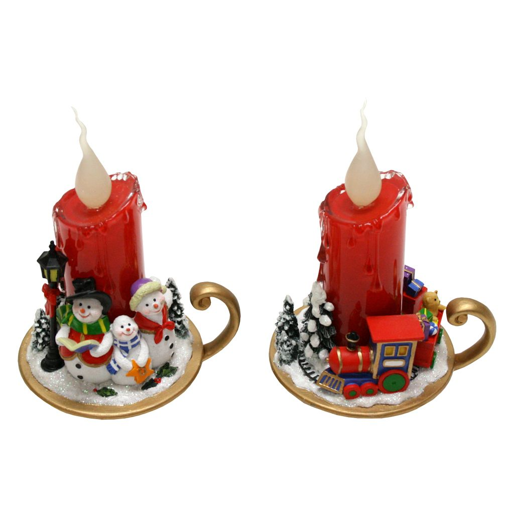"""Roman 38598 LED CANDLE RED WITH SNOWMEN OR TRAIN 7""""H Decorative Christmas Candles $17.99"""