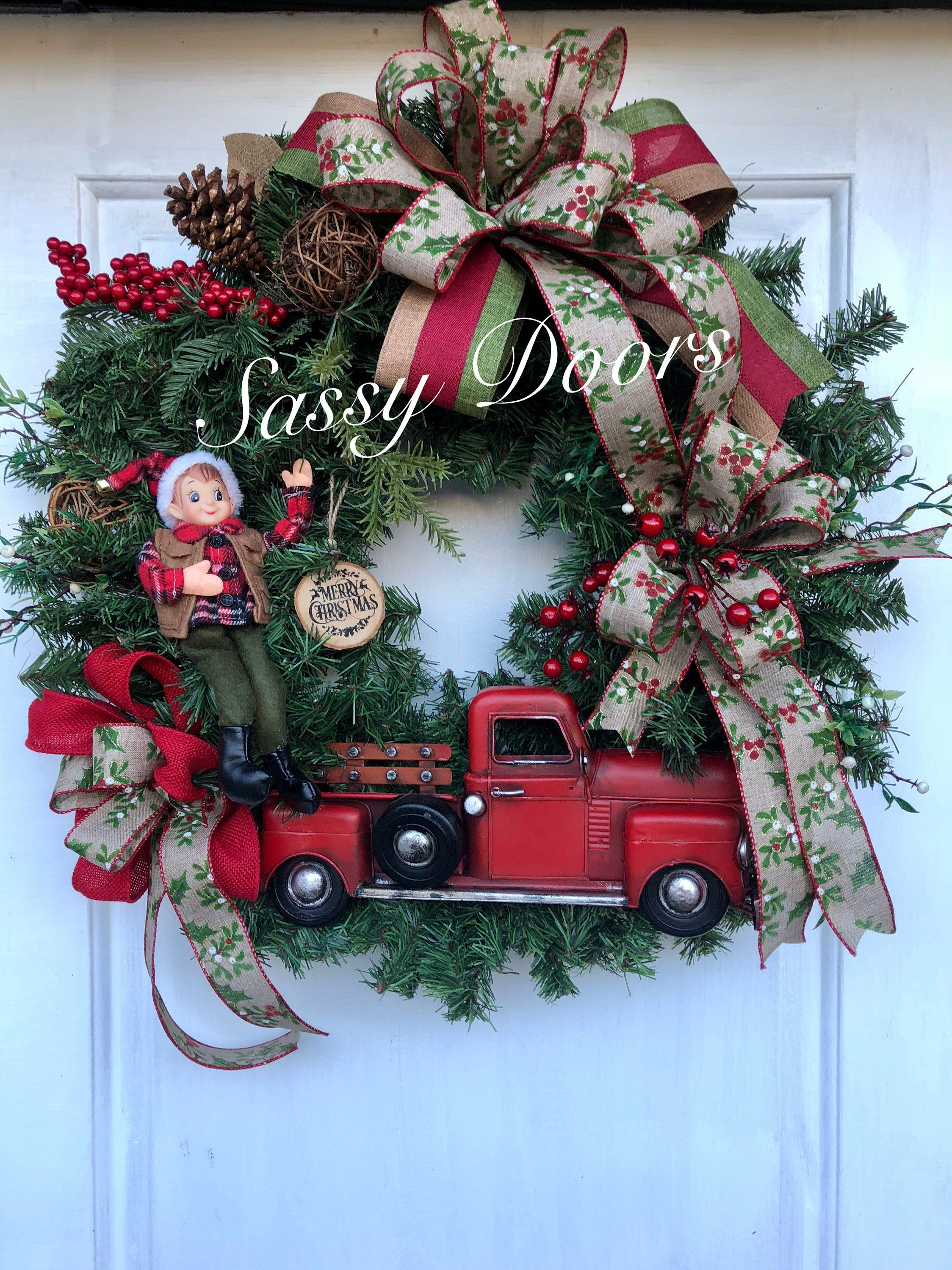 Red Truck Wreath, Christmas Wreath, Rustic Christmas Wreath, Red Truck