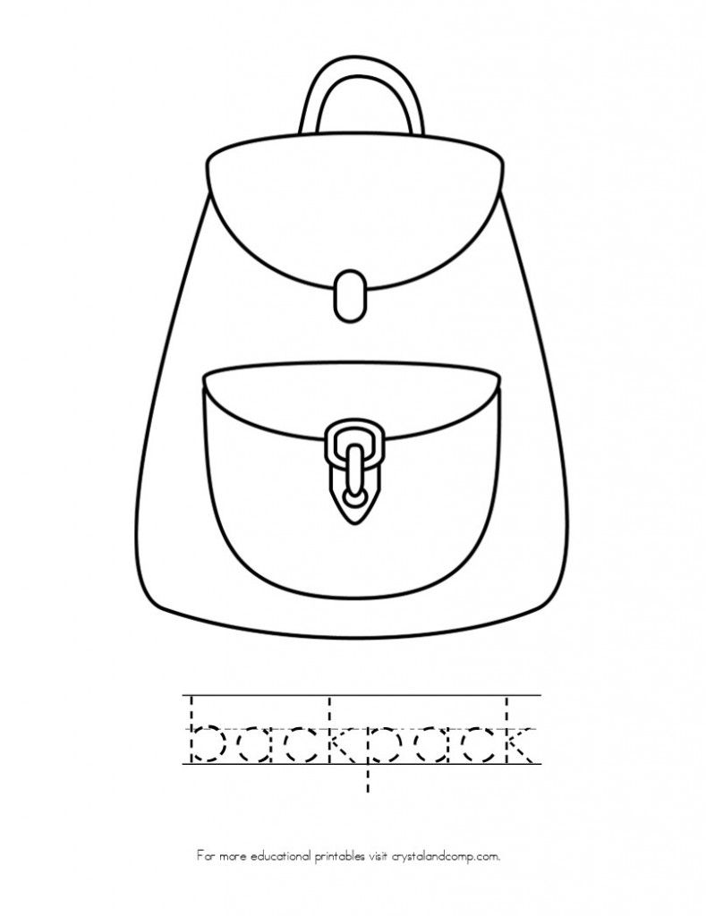 Kid Color Pages Back To School Theme Kids Colouring Worksheets - school backpack coloring page