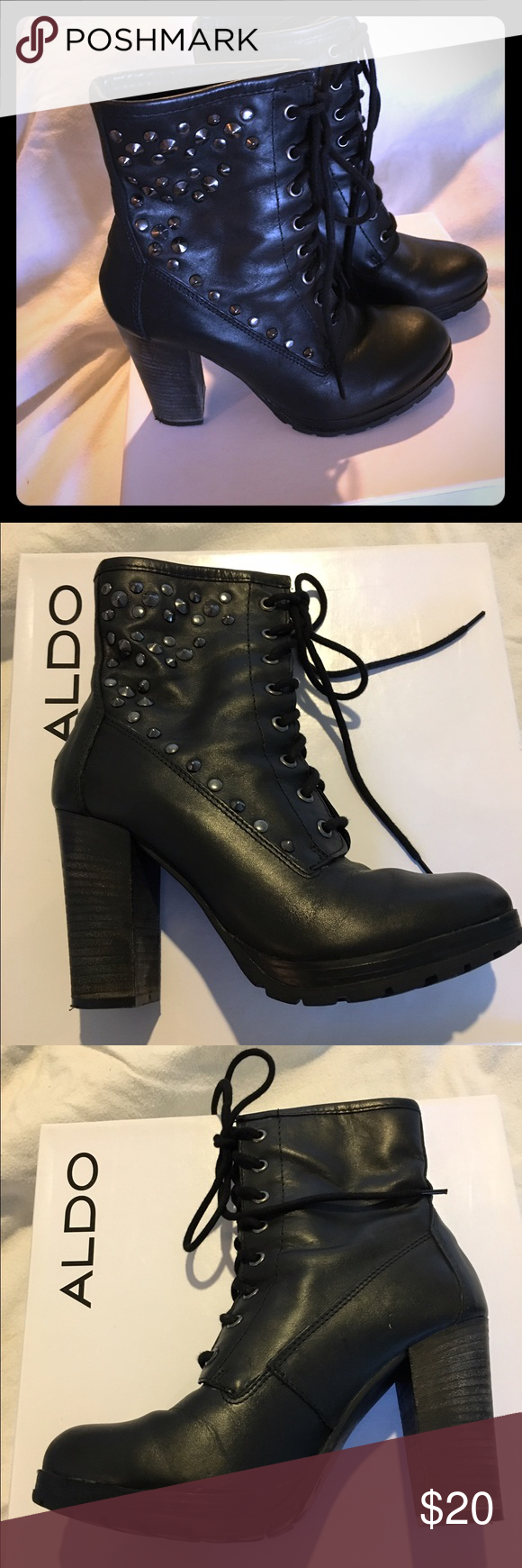 Aldo Binzarta Studded Black Leather Boots Size 8 Hot lace-up leather boots that you can dress up or dress down. 3 3/4 inch heel. GUC ALDO Shoes Lace Up Boots