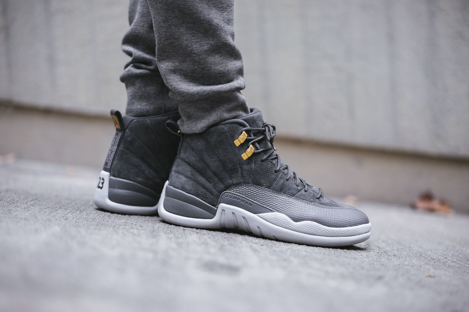 a47804f7c52 Dubbed the Air Jordan 12 Dark Grey, this new colourway has the Jordan's  12th signature dressed in an all Grey suede upper. Premium .