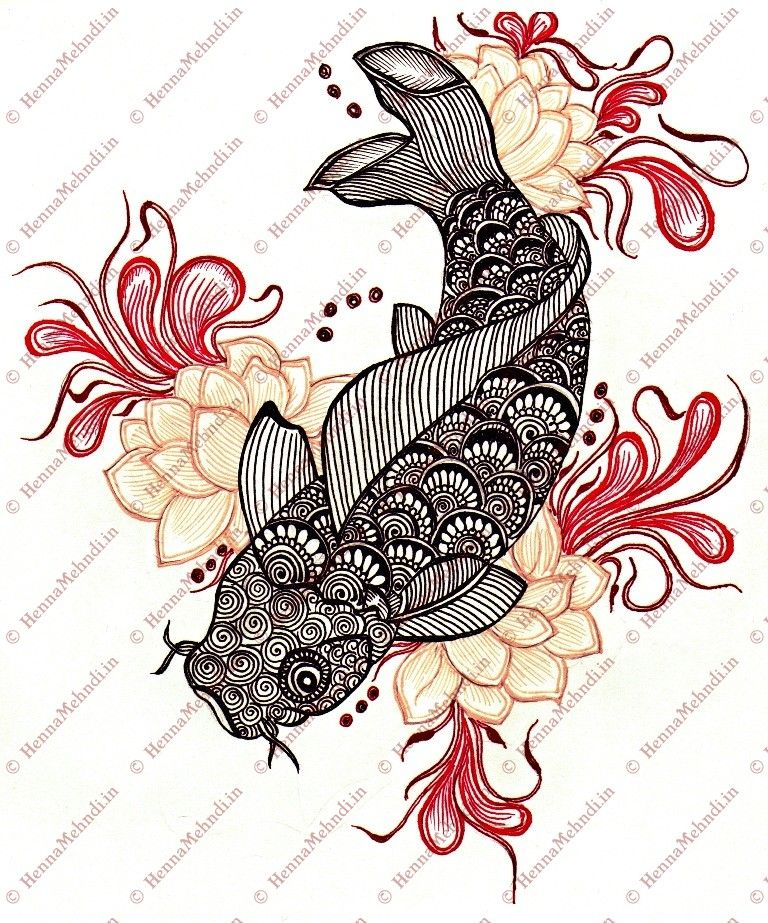 koi fish drawing mehndi style designs pinterest poisson koi dessin et peinture japonaise. Black Bedroom Furniture Sets. Home Design Ideas