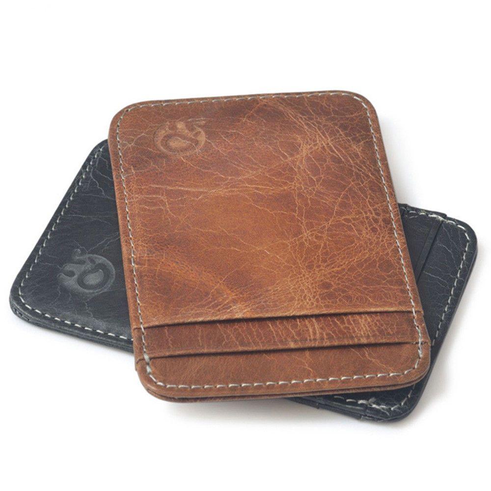 Mens Genuine Leather Thin Wallet ID Money Credit Card Slim Holder Money Pocket