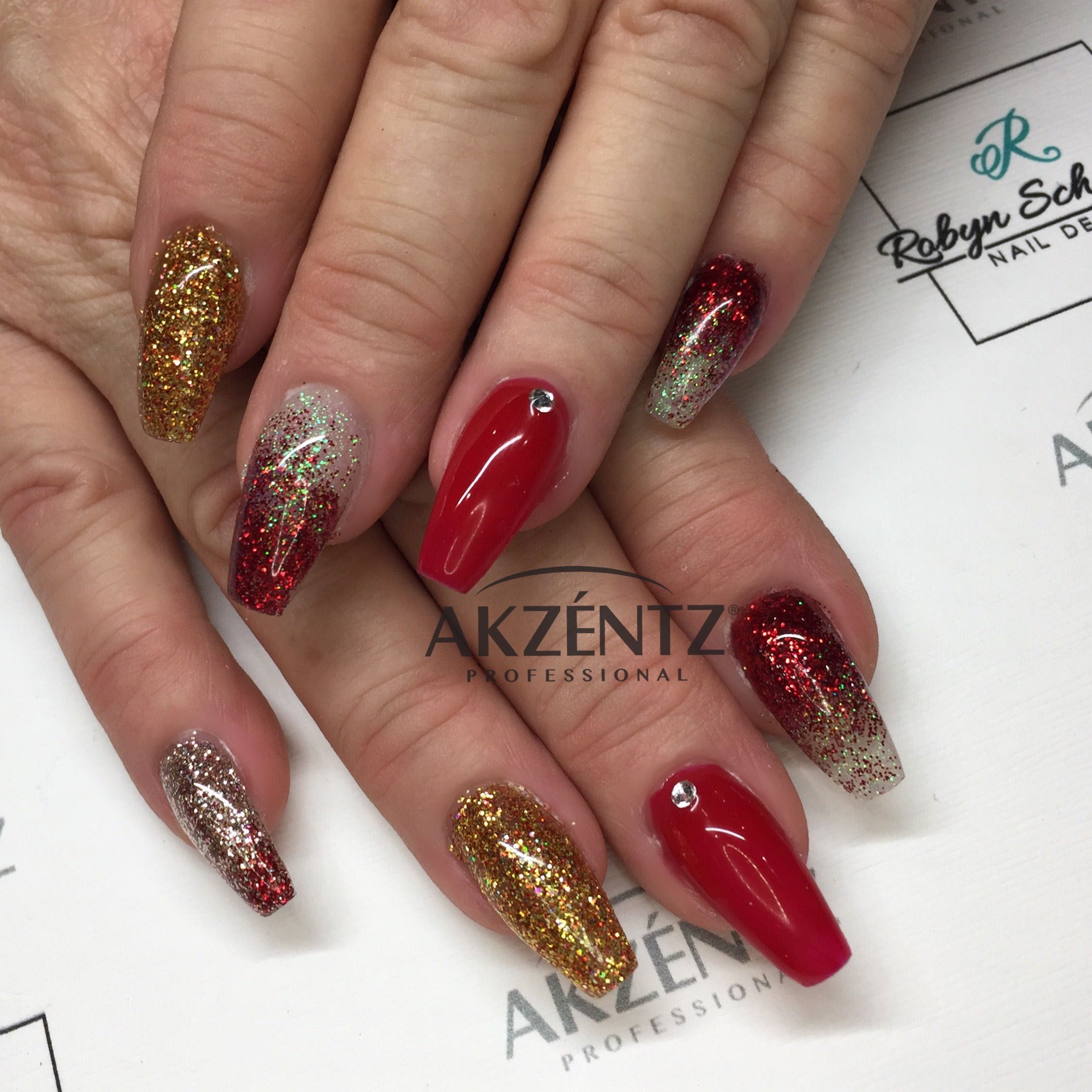 Luxio Passion and loose glitters are the perfect red festive nails ...