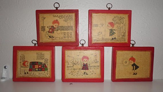 Set of Five Cute Vintage Art Pieces Showing by TheFunkyNursery, $20.00