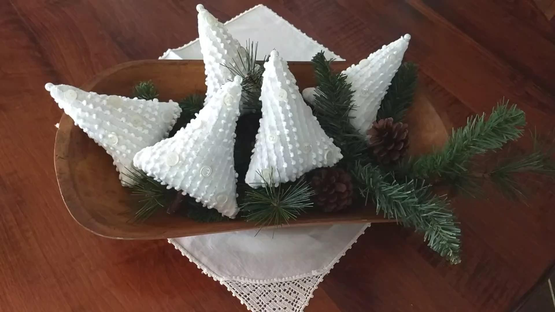 6/set stuffed Christmas tree bowl fillers made from vintage chenille. Country farmhouse decor. Primitive tree ornie. Holiday table. Handmade -   19 farmhouse christmas tree decorations diy ideas