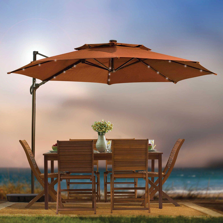 Outdoor Umbrella With Solar Lights light Light Ideas