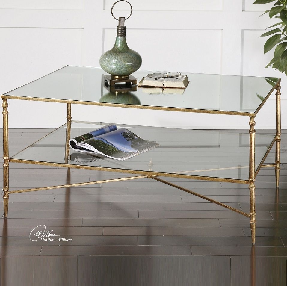 Henzler Mirrored Gold Leaf Coffee Table Coffee Table With Storage Coffee Table Glass Coffee Table