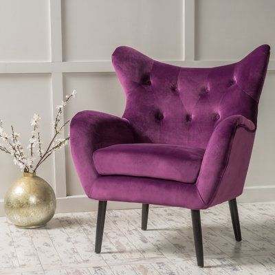 Willa Arlo Interiors Bouck Wingback Chair Color Purple Purple