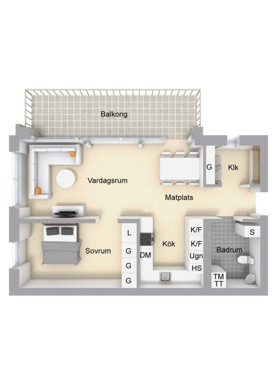65m² con cocina comedor salón abiertos | Pequeña cocina comedor ...