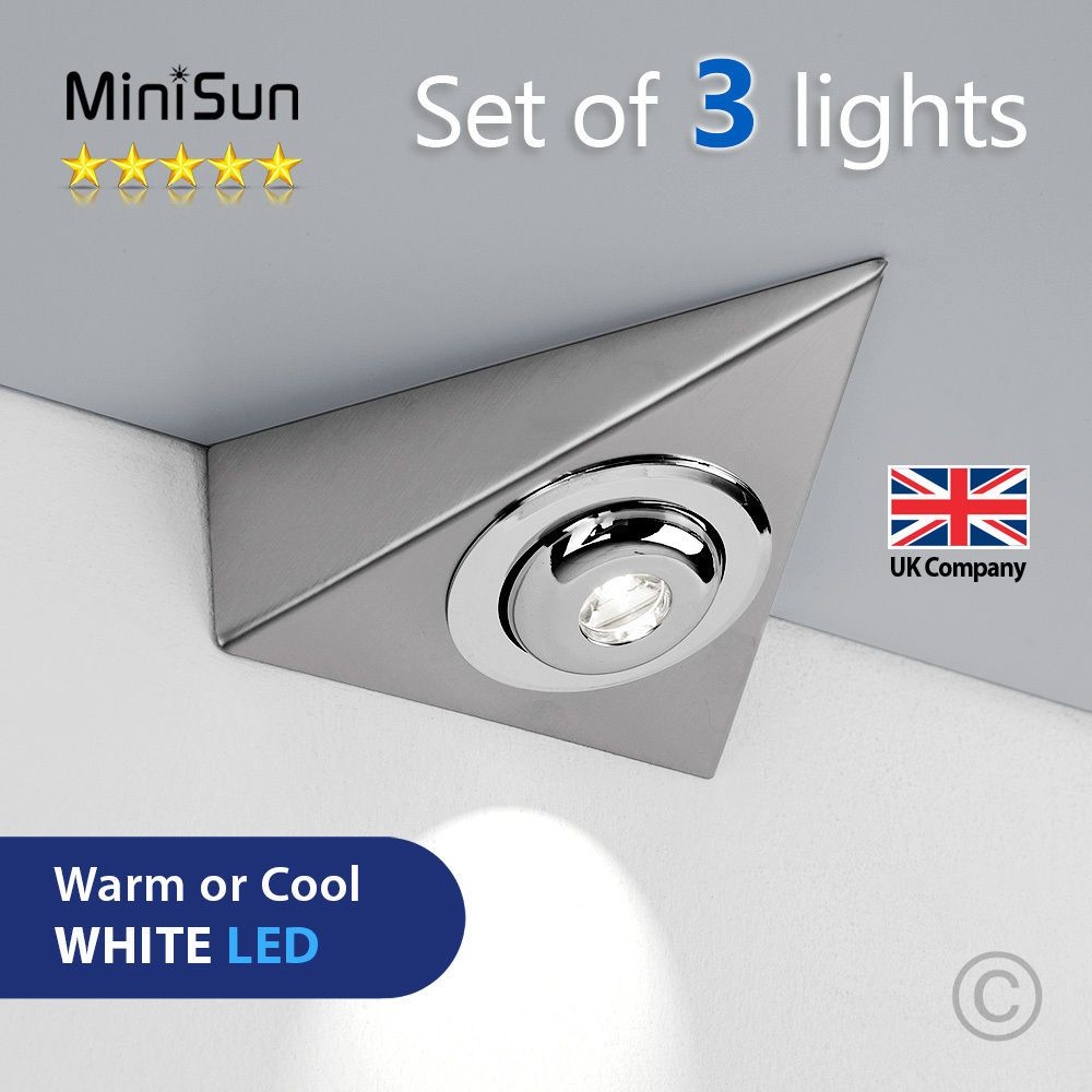Enhance The Lighting In Your Home With These Superb Plug In Under Cabinet Led Lighting Kits Each Kit Features Three Brushed Chrome Effect Triangle Lights With