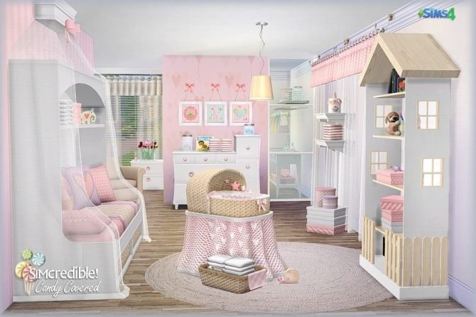 Candy Covered Nursery & Kids Room (Free + Pay) At SIMcredible! Designs 4 Via Sims 4 Updates | Sims Baby, Sims 4 Bedroom, Sims 4 Beds