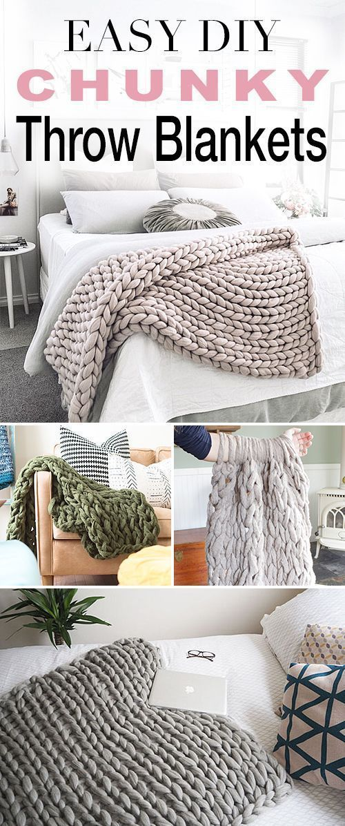Easy DIY Chunky Throw Blankets - Throw blanket diy, Blanket diy, Easy diy, Blanket, Diy home decor, Diy room decor - Trendy chunky throw blankets DIY tutorials! Learn how to arm knit these fun blankets with easy instructions! Soft, warm and thick DIY blankets!