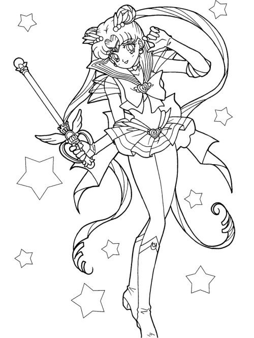 Sailor Moon Carries A Magic Wand Coloring Pages Sailor Moon