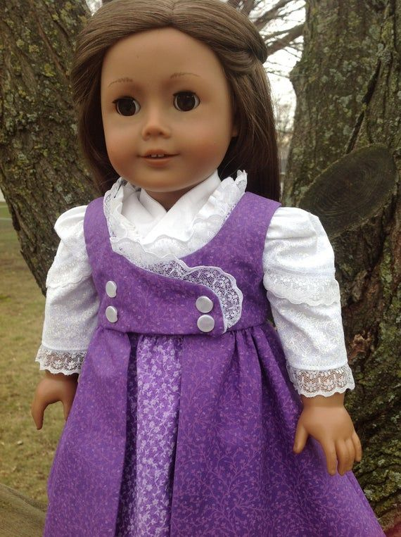 Regency Era dress, historical doll clothing, 18 inch dolls, purple dress, 1790s style, fits american #historicaldollclothes