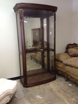 400 Large Display Cabinet Old World Style Wglass Doors For Sale