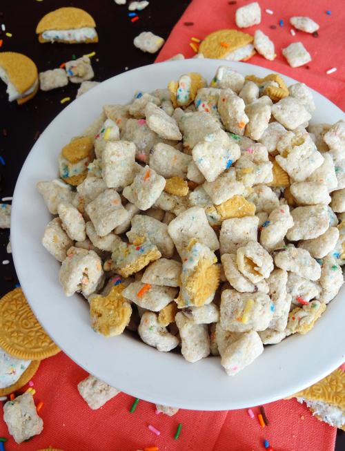 Golden Birthday Cake Oreo Puppy Chow Recipe Let Them Eat Cake