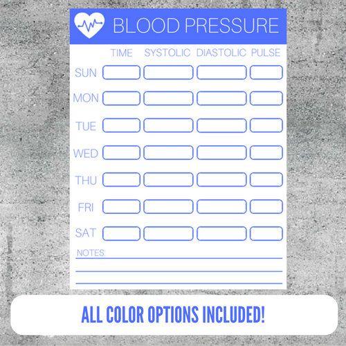 Printable Blood Pressure Tracker, Blood Pressure Monitoring, Blood