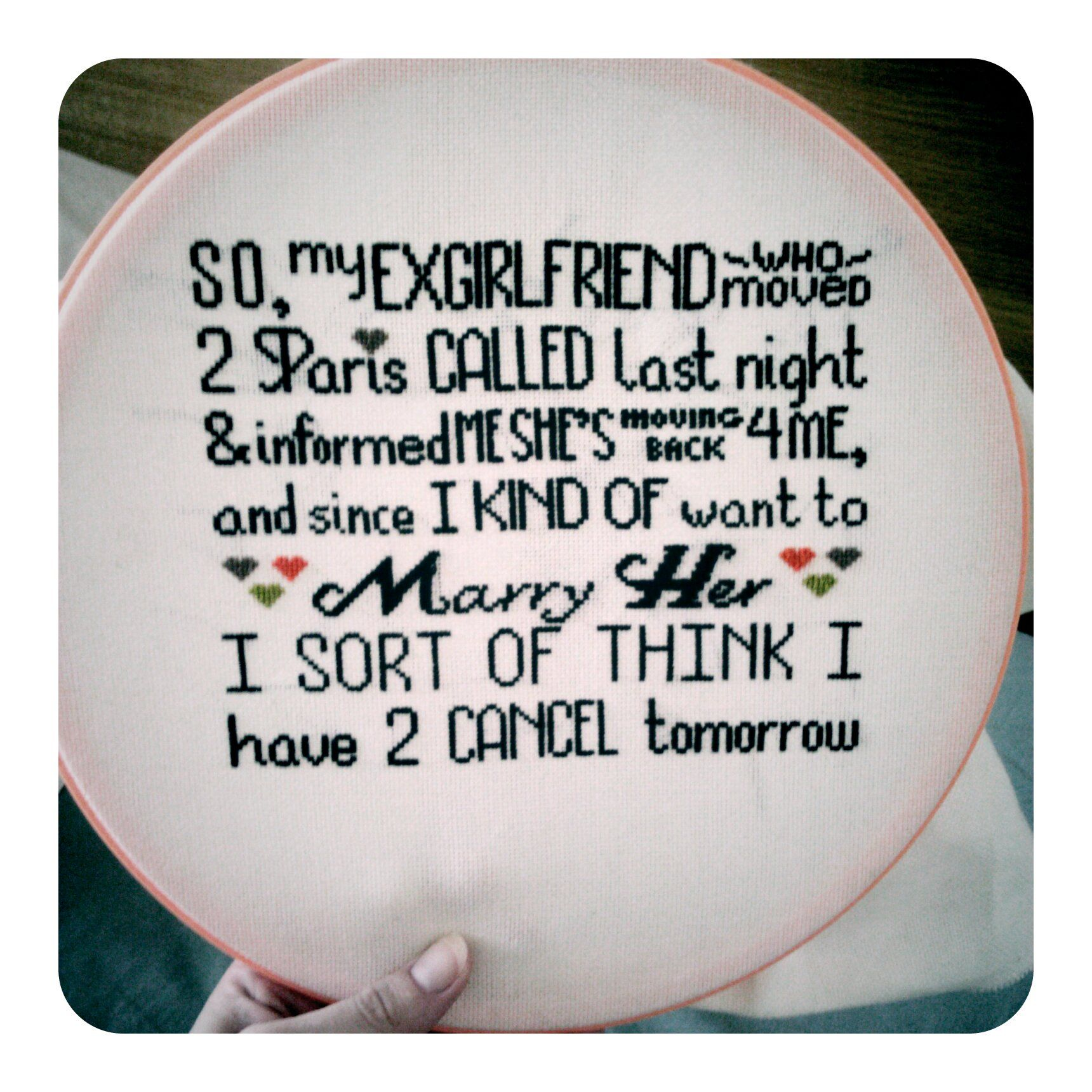 cross stitched rejection