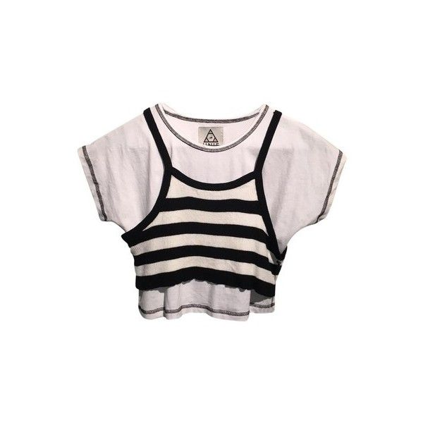 UNIF Clarissa Tip T Shirt Black, White ($50) ❤ liked on Polyvore featuring tops, t-shirts, white crop top, stripe t shirt, white striped shirt, tee-shirt and striped t shirt