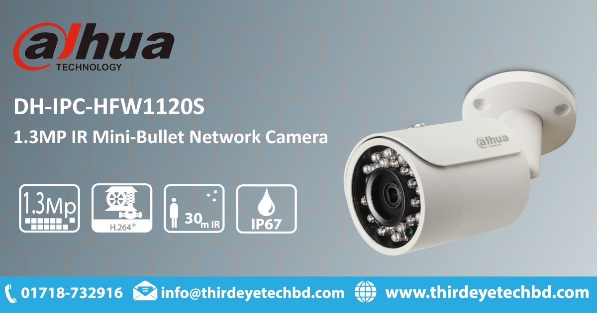 Dahua Dh Ipc Hfw1120sp 1 3mp Ir Mini Bullet Network Camera Camera Prices Cctv Camera Camera