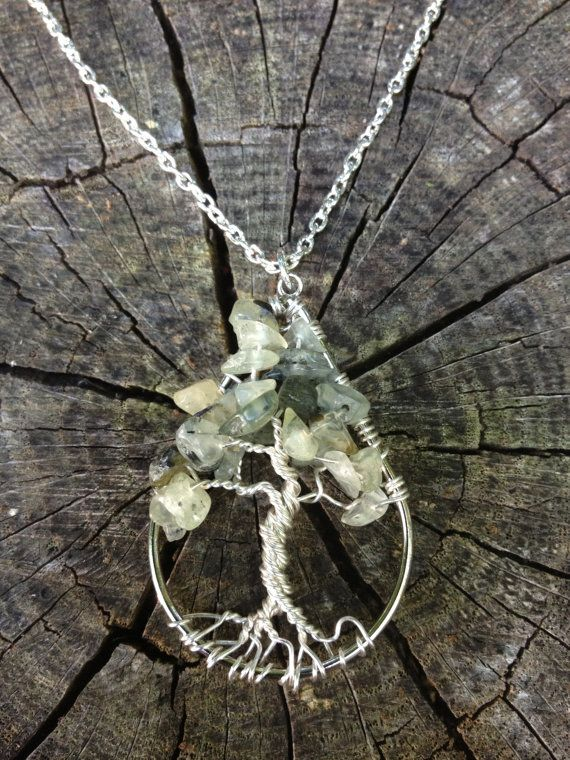 Prehnite Necklace Wire Wrapped Tree Of Life by Just4FunDesign, $25.00