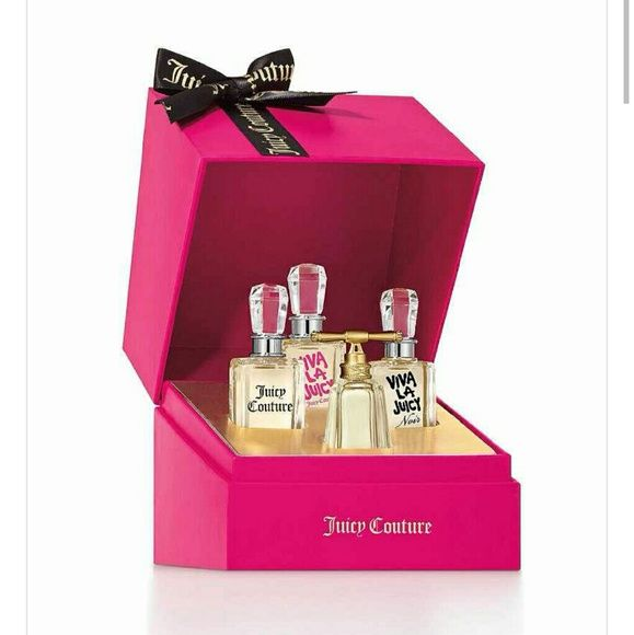 Juicy couture mini coffret set Brand new never been used mini set. All scents are 0.17 oz. Include I am juicy couture, viva la juicy, viva la juicy noir eau de parfum & juicy couture parfum. Im also including a new Viva La Juicy body lotion $15 dollar value for free! :) Juicy Couture Other